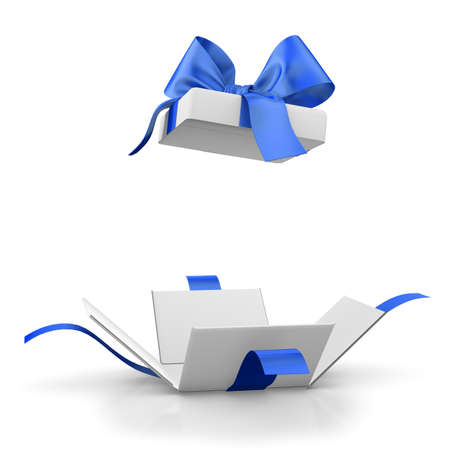 gift box for Christmas, New Years Day ,Open blue gift box white background 3d rendering