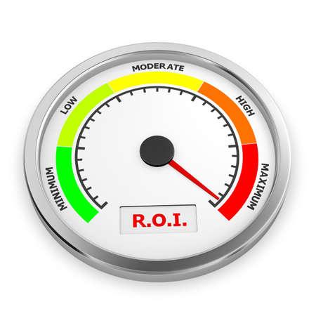 maximum: r.o.i level to maximum conceptual meter, 3d rendering Stock Photo