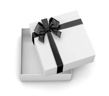 black bow: gift box for Christmas, New Years Day ,Open white gift box black bow top view white background 3d rendering
