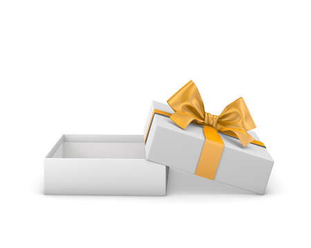 gift box for Christmas, New Years Day ,Open yellow gold gift box white background 3d rendering
