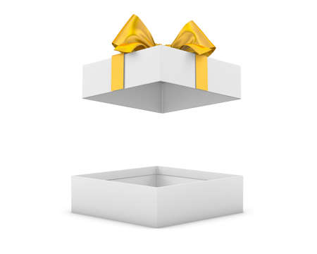 new years day: gift box for Christmas, New Years Day ,Open yellow gold gift box white background 3d rendering