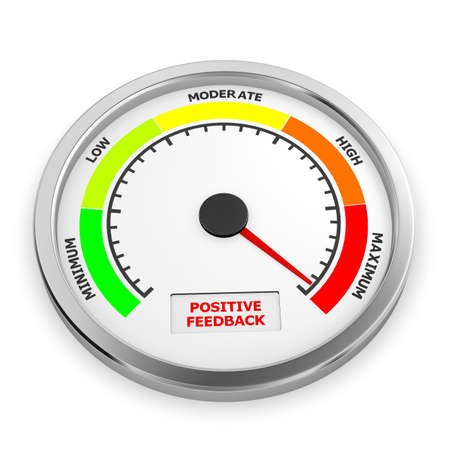 positive feedback level to maximum conceptual meter, 3d rendering