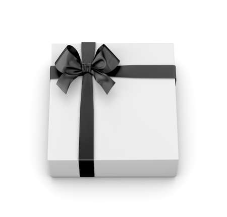 black bow: gift box for Christmas, New Years Day ,white gift box black bow top view white background 3d rendering