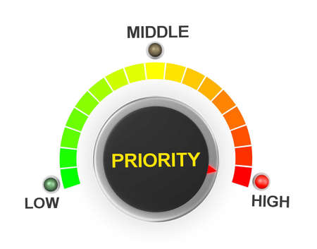 prioritization: priority button position. Concept image for illustration of priority in the highest position , 3d rendering Stock Photo