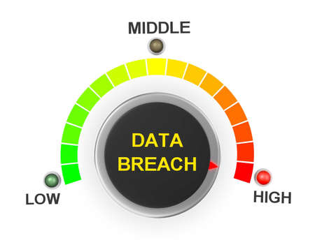 threat: data breach button position. Concept image for illustration of data breach in the highest position , 3d rendering