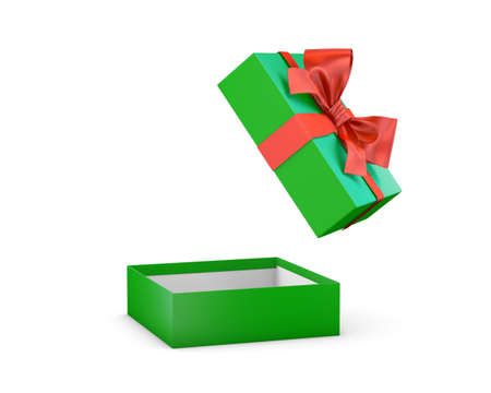 new years day: gift box for Christmas, New Years Day ,Open red green gift box white background 3d rendering