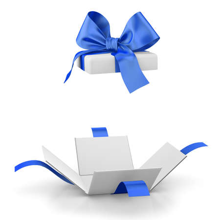 new year  s day: gift box for Christmas, New Years Day ,Open blue gift box white background 3d rendering