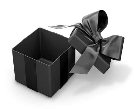 top veiw: Open black gift box top view white background 3d rendering