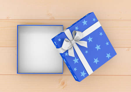 new years day: gift box for Christmas, New Years Day ,Open blue gift box top view on table background 3d rendering Stock Photo