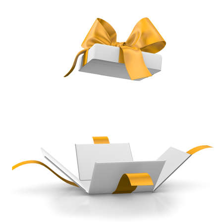 gift box for Christmas, New Year's Day ,Open yellow gold gift box white background 3d rendering Banco de Imagens - 64276383
