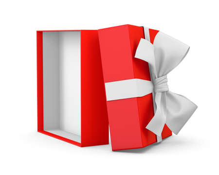 new years background: gift box for Christmas, New Years Day ,Opening red gift box white ribbon background 3d rendering Stock Photo