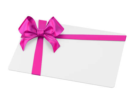 card and pink ribbon bow for Christmas, New Years Day on white background 3d rendering Stock Photo