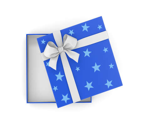 new years day: gift box for Christmas, New Years Day ,Open blue gift box top view white background 3d rendering Stock Photo