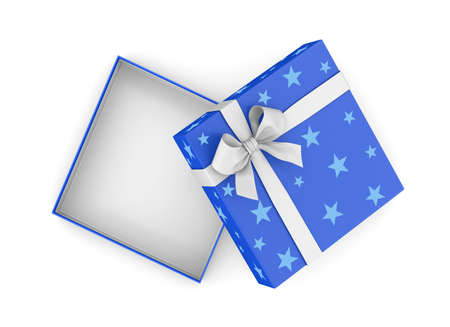 christmas gift box: gift box for Christmas, New Years Day ,Open blue gift box top view white background 3d rendering Stock Photo