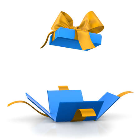 love blast: gift box for Christmas, New Years Day ,Open blue yellow gift box white background 3d rendering