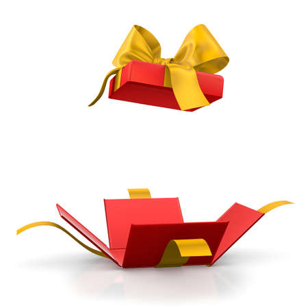 gift box for Christmas, New Years Day ,Open red yellow gift box white background 3d rendering