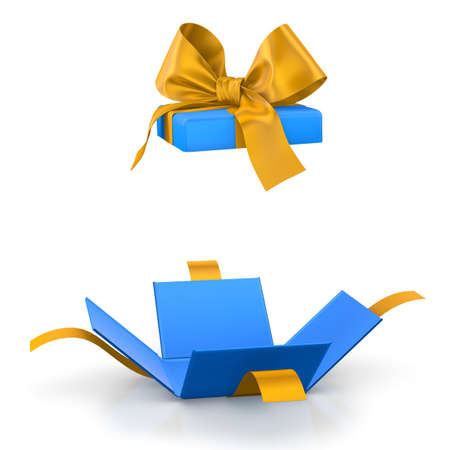 yelllow: gift box for Christmas, New Years Day ,Open blue yellow gift box white background 3d rendering