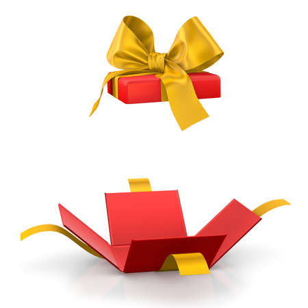 love blast: gift box for Christmas, New Years Day ,Open red yellow gift box white background 3d rendering