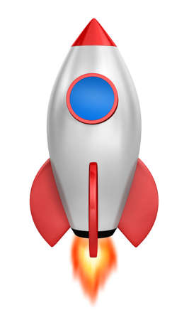 strat: Startup concept.  a silver rocket is strat up symbol, 3d rendering Stock Photo