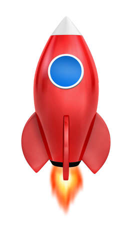 strat: Startup concept.  a red rocket is strat up symbol, 3d rendering Stock Photo