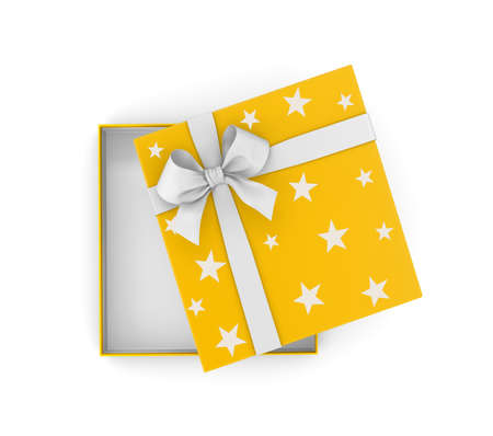 gift box for Christmas, New Years Day ,Open yellow gift box top view white background 3d rendering Stock Photo