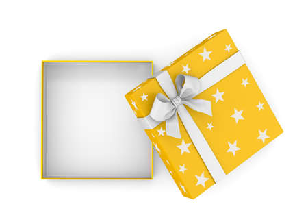 new years day: gift box for Christmas, New Years Day ,Open yellow gift box top view white background 3d rendering Stock Photo