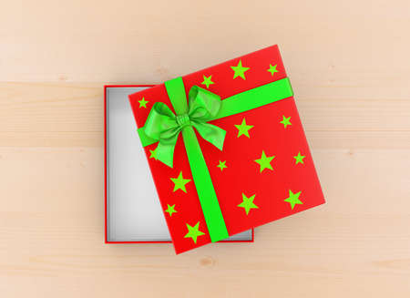 new years day: gift box for Christmas, New Years Day ,Open red green gift box top view wood table background 3d rendering