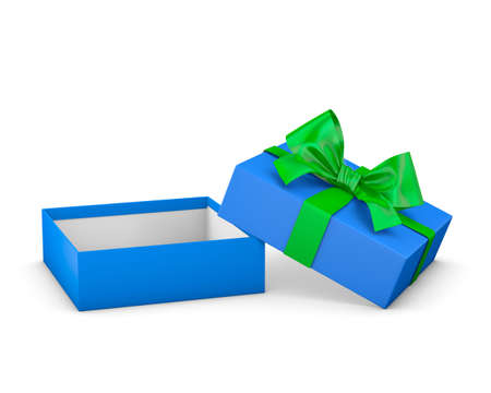 new years day: gift box for Christmas, New Years Day ,Open blue green gift box white background 3d rendering Stock Photo