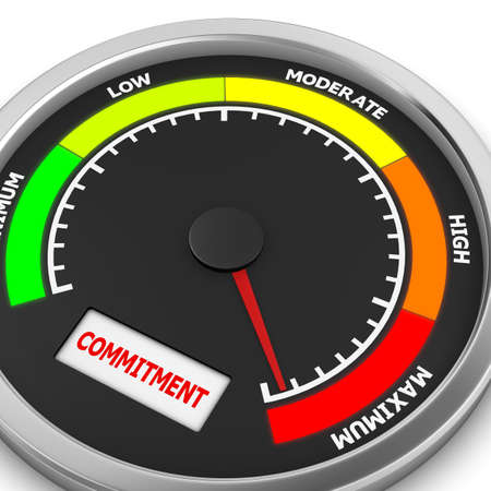 commitment: Commitment level to maximum conceptual meter, 3d rendering Stock Photo