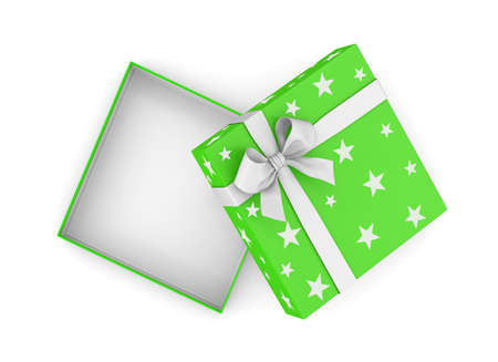 gift box for Christmas, New Years Day ,Open green gift box top view white background 3d rendering Stock Photo