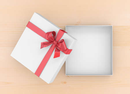 gift box for Christmas, New Years Day ,Open red gift box top view on table background 3d rendering Stock Photo