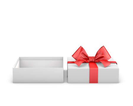 new years day: red gift box for Merry Christmas, New Years Day ,Open red gift box white background 3d rendering