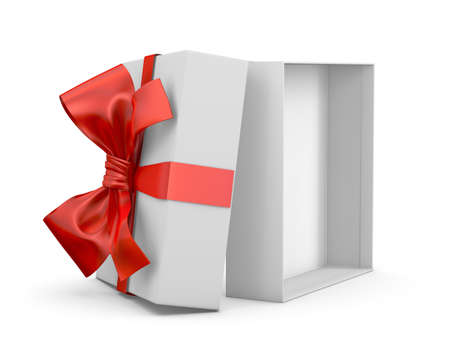 white day: red gift box for Merry Christmas, New Years Day ,Open red gift box white background 3d rendering