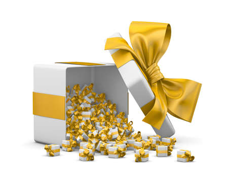yellow gift box for Merry Christmas, New Years Day , Gift box emitting little gift boxes with a yellow ribbon ,3d rendering