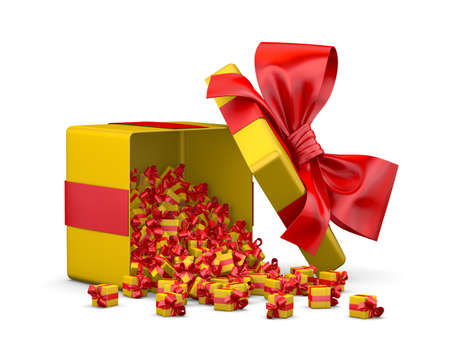 red yellow gift box for Merry Christmas, New Years Day , Gift box emitting little gift boxes with a red ribbon ,3d rendering