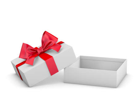 red gift box for Merry Christmas, New Years Day ,Open red gift box white background 3d rendering