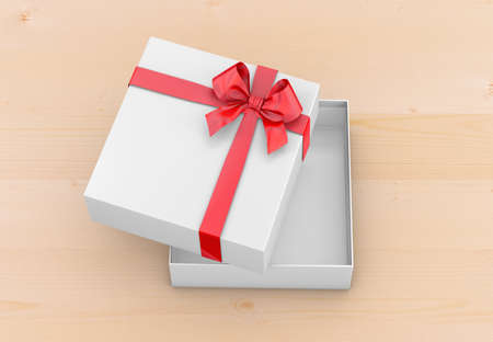 new years day: gift box for Christmas, New Years Day ,Open red gift box top view wood background 3d rendering Stock Photo