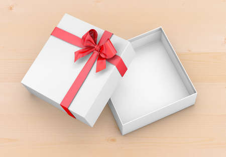 gift box for Christmas, New Years Day ,Open red gift box top view wood background 3d rendering Stock Photo