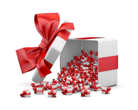 red gift box for Merry Christmas, New Years Day , Gift box emitting little gift boxes with a red ribbon ,3d rendering Stok Fotoğraf