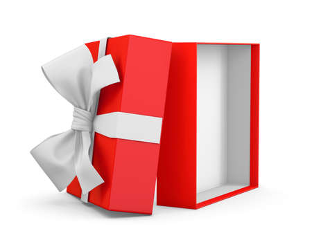 gift box for Christmas, New Years Day ,Opening red gift box white ribbon background 3d rendering Stock Photo