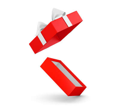 new years day: gift box for Christmas, New Years Day ,Opening red gift box white ribbon background 3d rendering Stock Photo