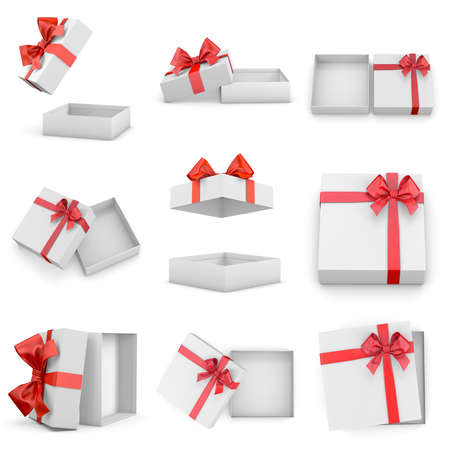 new years day: gift box set callection for Christmas, New Years Day ,Open red gift box top view white background 3d rendering