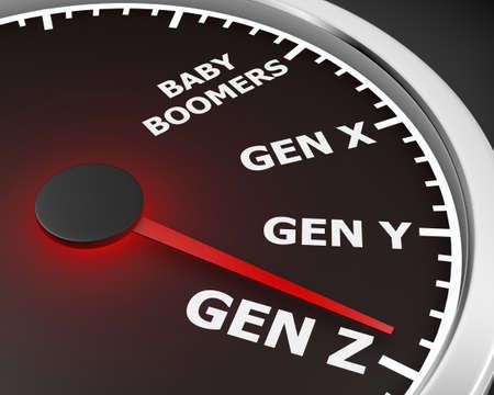 Generation X Y Z Speedometer Words 3d Illustration rendering Banco de Imagens