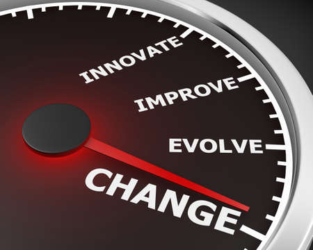 disruption: Change Innovate Improve Involve Speedometer 3d Illustration rendering Stock Photo