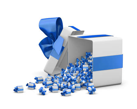 love blast: blue gift box for Merry Christmas, New Years Day , Gift box emitting little gift boxes with a blue ribbon ,3d rendering Stock Photo