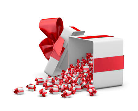 red gift box for Merry Christmas, New Years Day , Gift box emitting little gift boxes with a red ribbon ,3d rendering Stock Photo
