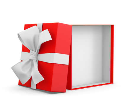 red gift box: gift box for Christmas, New Years Day ,Opening red gift box white ribbon background 3d rendering Stock Photo