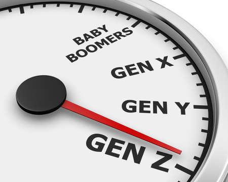 Generation X Y Z Speedometer Words 3d Illustration rendering Archivio Fotografico