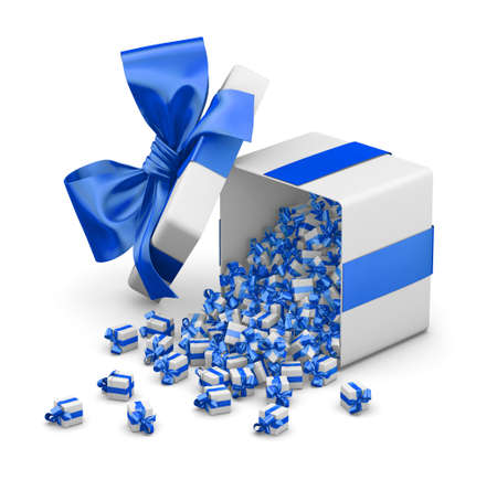 consumer: blue gift box for Merry Christmas, New Years Day , Gift box emitting little gift boxes with a blue ribbon ,3d rendering Stock Photo