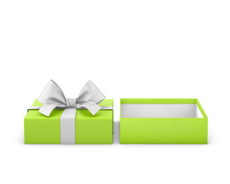 gift box for Christmas, New Years Day ,Open green gift box white background 3d rendering